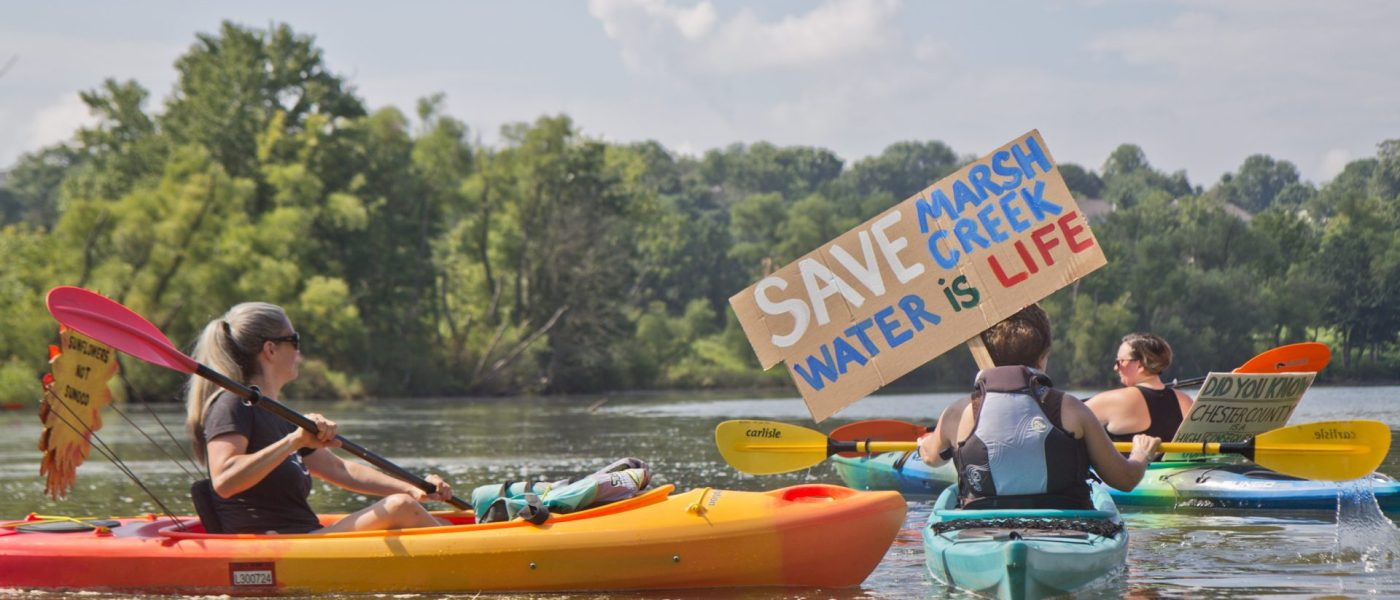 Protestors at Marsh Creek Lake
