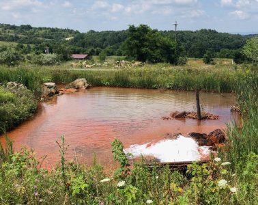 Mine drainage ponds