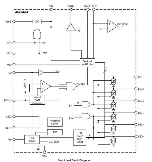 A6274, A6284, A6284-1: Regulator for Automotive LED Arrays