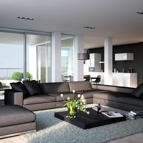Elegante Wohnzimmer Design Kleiner Couchtisch Weicher Hellgrauer Teppich