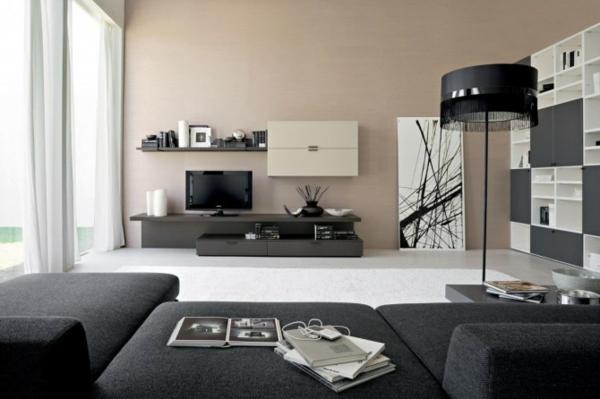 wohnzimmer design mit wandfarbe schwaru und esstisch massiv in ... - Wohnzimmer Ideen Schwarz