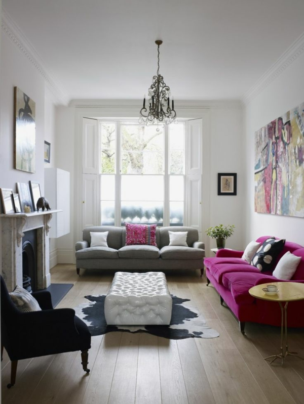 Wohnzimmer Schwarz Lila