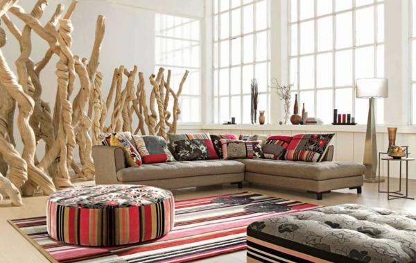 wohnraum dekoration couch braun orange kissen teppich | sichtschutz, Wohnzimmer dekoo
