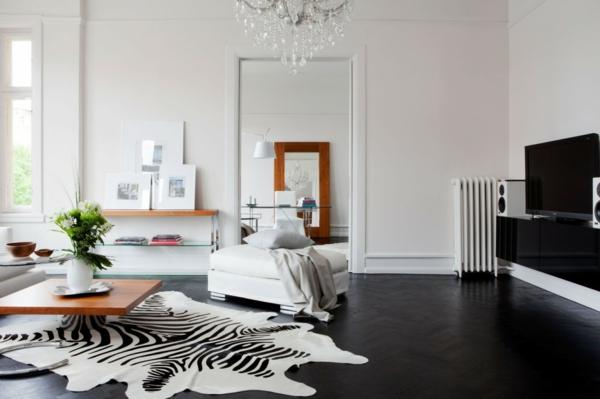 wohnzimmer tapeten design - boisholz - Wohnzimmer Teppich Schwarz Weis