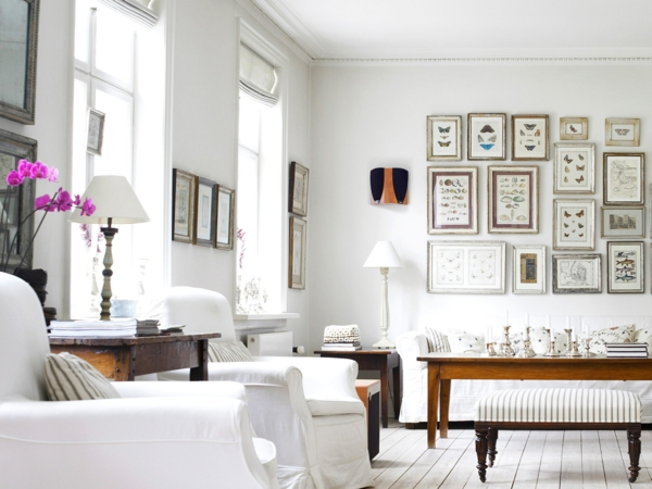 Weisse Farbe im Innendesign fr den Winter