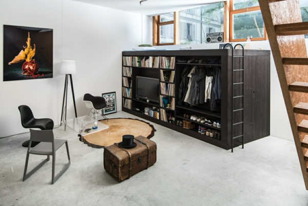 Ausgefallene Hochbetten hochbett erwachsene splatzsparend kleine wohnung design