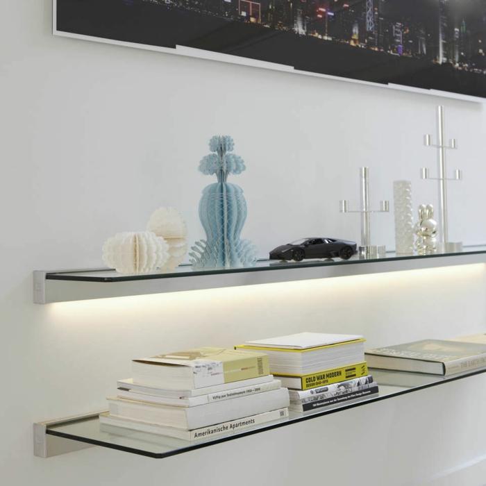 living room glass shelves contemporary formal ideas glasregale sorgen für eine neutrale, doch wirkunsvolle ...