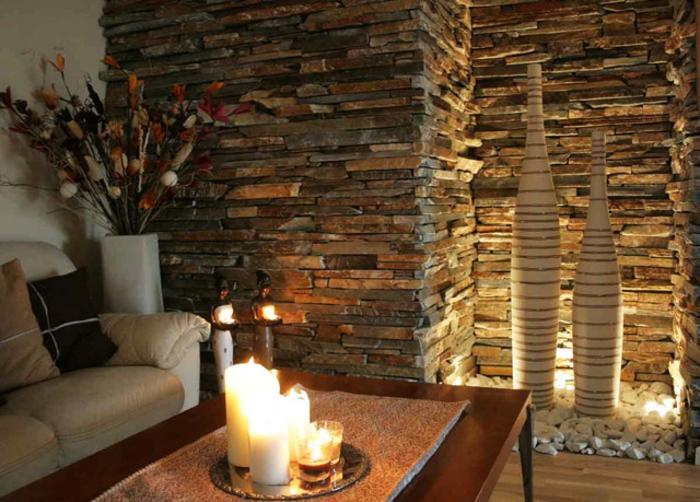 Wohnzimmer Steinwand Beleuchtung | Ambrid, Wohnzimmer