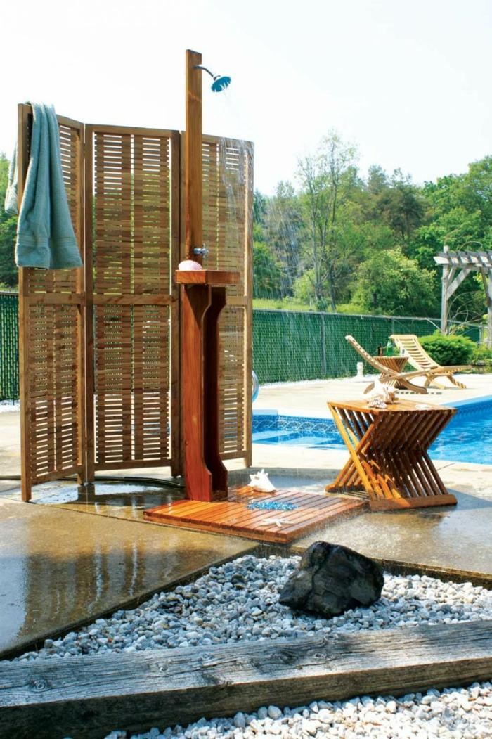 Gartendusche Sichtschutz  Ideen fr die OutdoorDusche