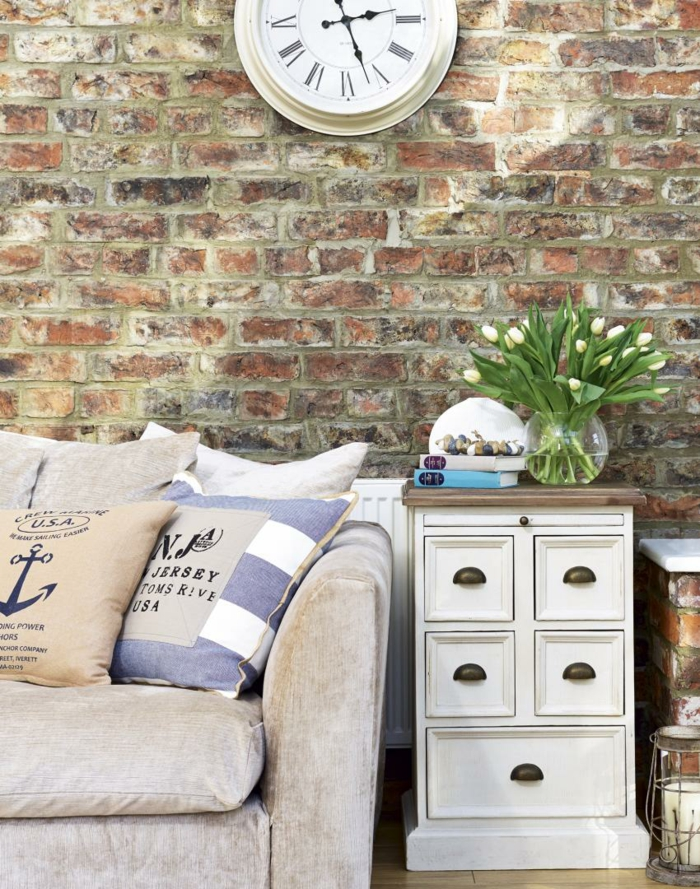 wall pictures living room neutral paint colours for uk mustertapeten in mauerwerkoptik für mehr Ästhetik und ...