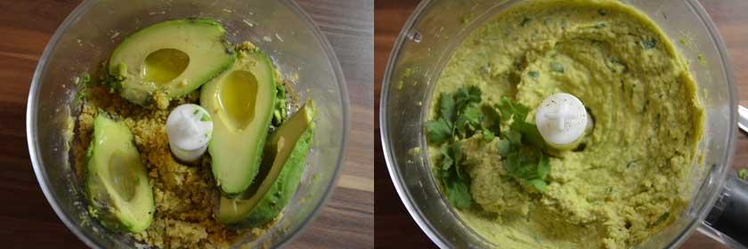 Avocados gut zerkleinern für Avocado Hummus