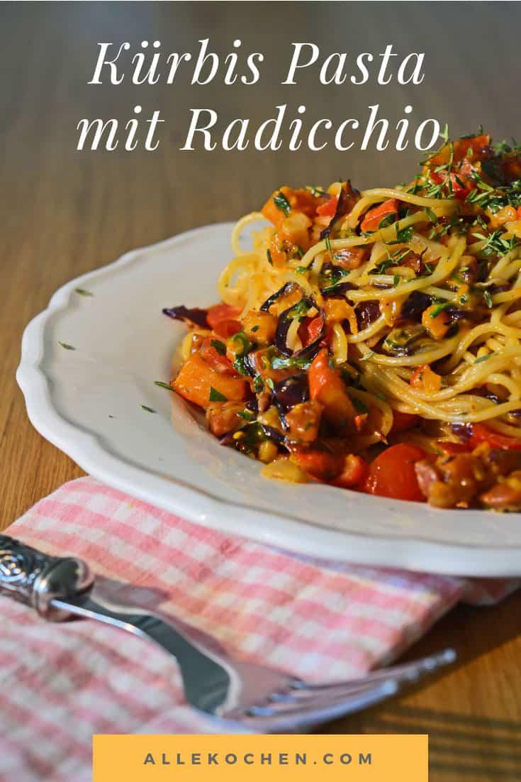 Kürbis Pasta mit Radicchio als einfaches Rezept für den Herbst