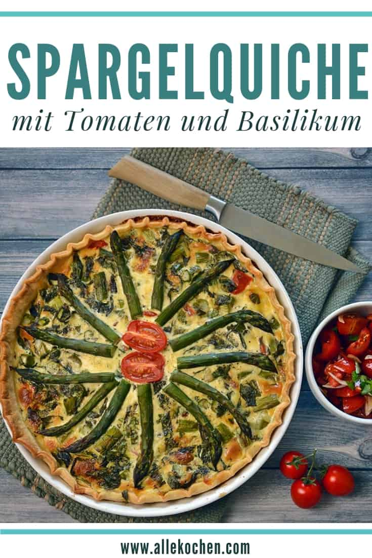 Soulfood aus dem Backofen zu selber machen: Rezept für vegetarische Spargelquiche mit Tomaten und Basilikum ist einfach und schmeckt lecker. Dekorativ und gesund in den Frühling. Ideal als Abendessen oder für ein Menü, wenn mal wieder Gäste zu da sind. Rezept auf www.allekochen.com #rezept #food #quiche #spargel