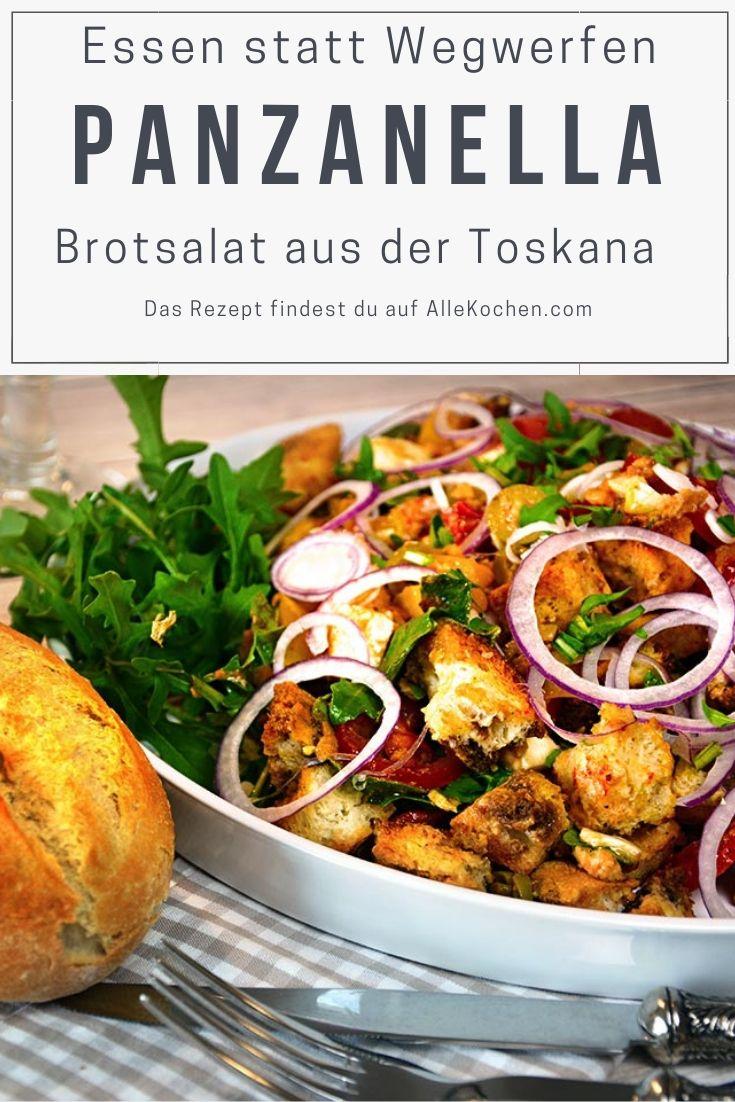 Einfaches Rezept für toskanischer Brotsalat Panzanellla. In diesem Salat werden reife Tomaten, altes Brot, Zwiebel und Dressing zu einem tollen Gericht vereint. Schnell und gesund