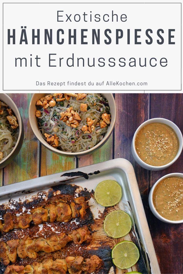 Einfaches Rezept für Hähnchenspiesse mit Erdnusssauce und Glasnudelsalat. Exotisches und schnelles aus der Küche