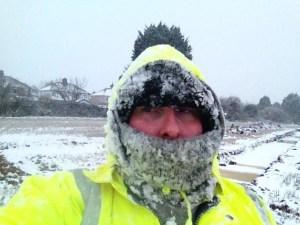 Snowy archaeologist