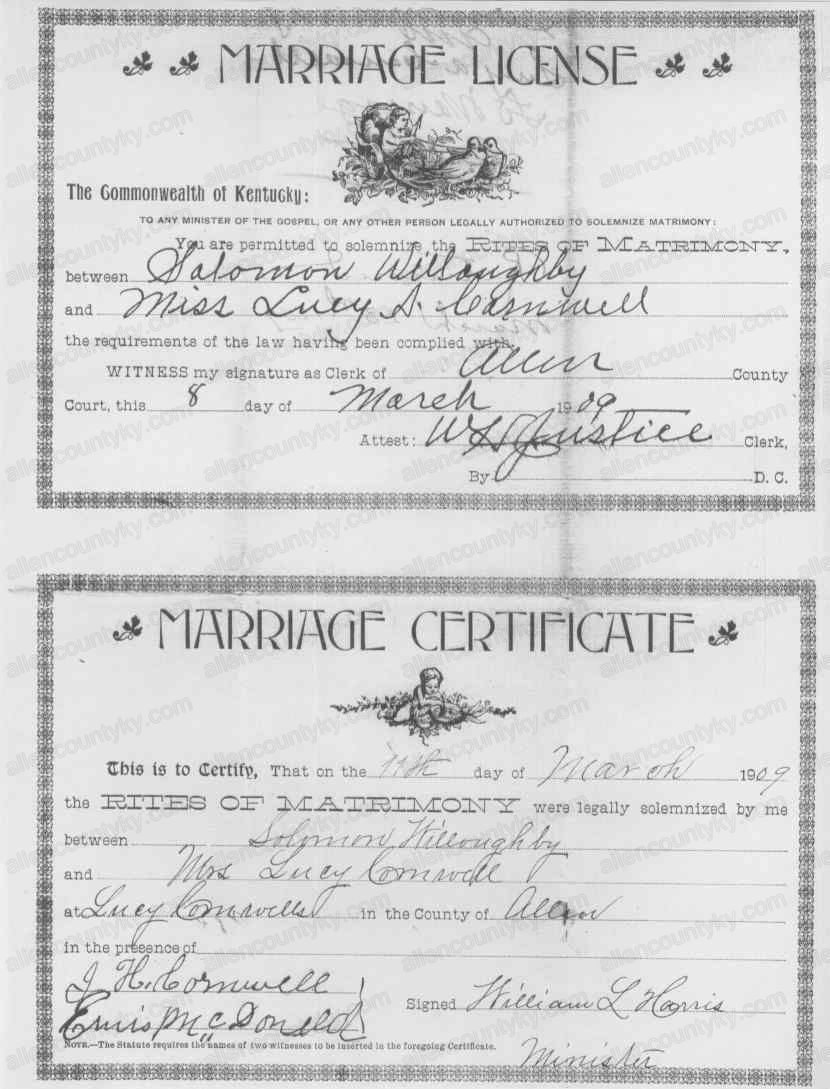 1909 Marriage Records