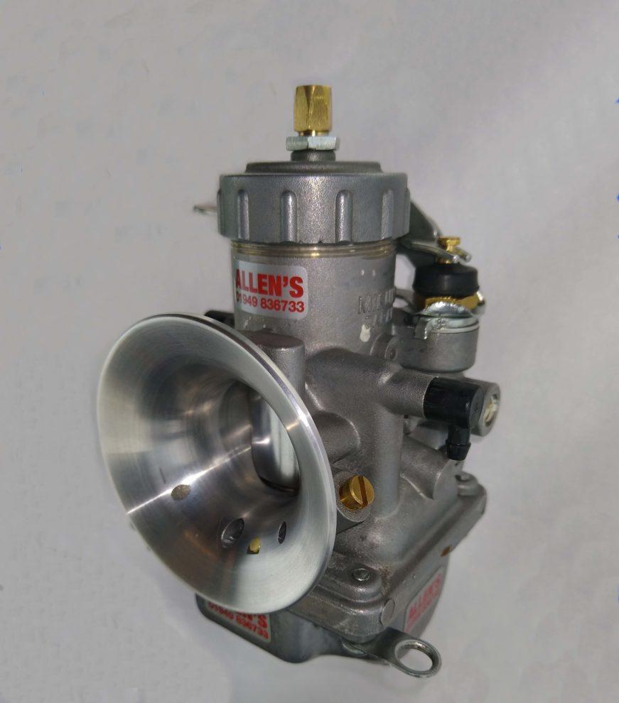 Mikuni VM28-57 carburettor with custom made radiussed air entry
