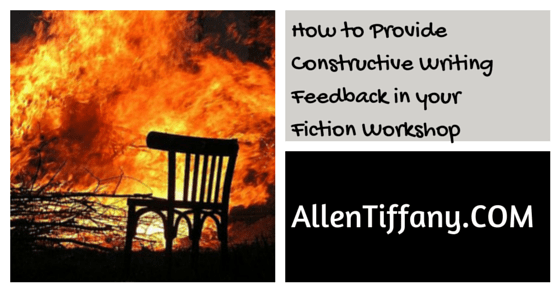 How to Provide Constructive Writing Feedback in your Fiction Workshop. Picture of burning chair.