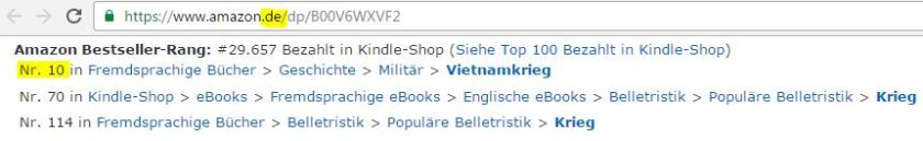 Amazon Germany bestseller, Vietnam war, VietnamKrieg, bestseller