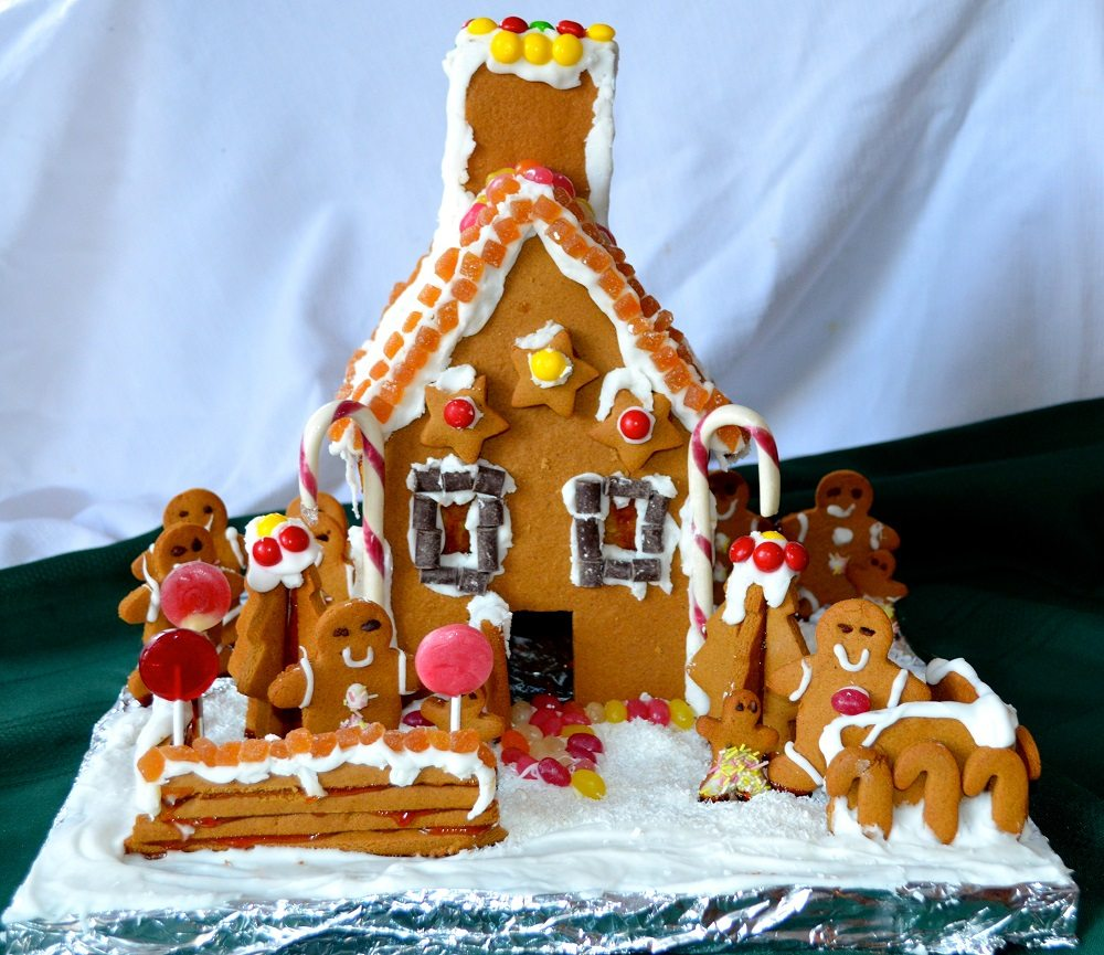 pictures of living room decorated for christmas decorating with dark furniture allergy-friendly, gluten-free gingerbread house - allergic ...