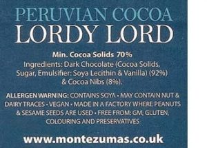 Montezuma chocolate: 'vegan' between allergen warnings