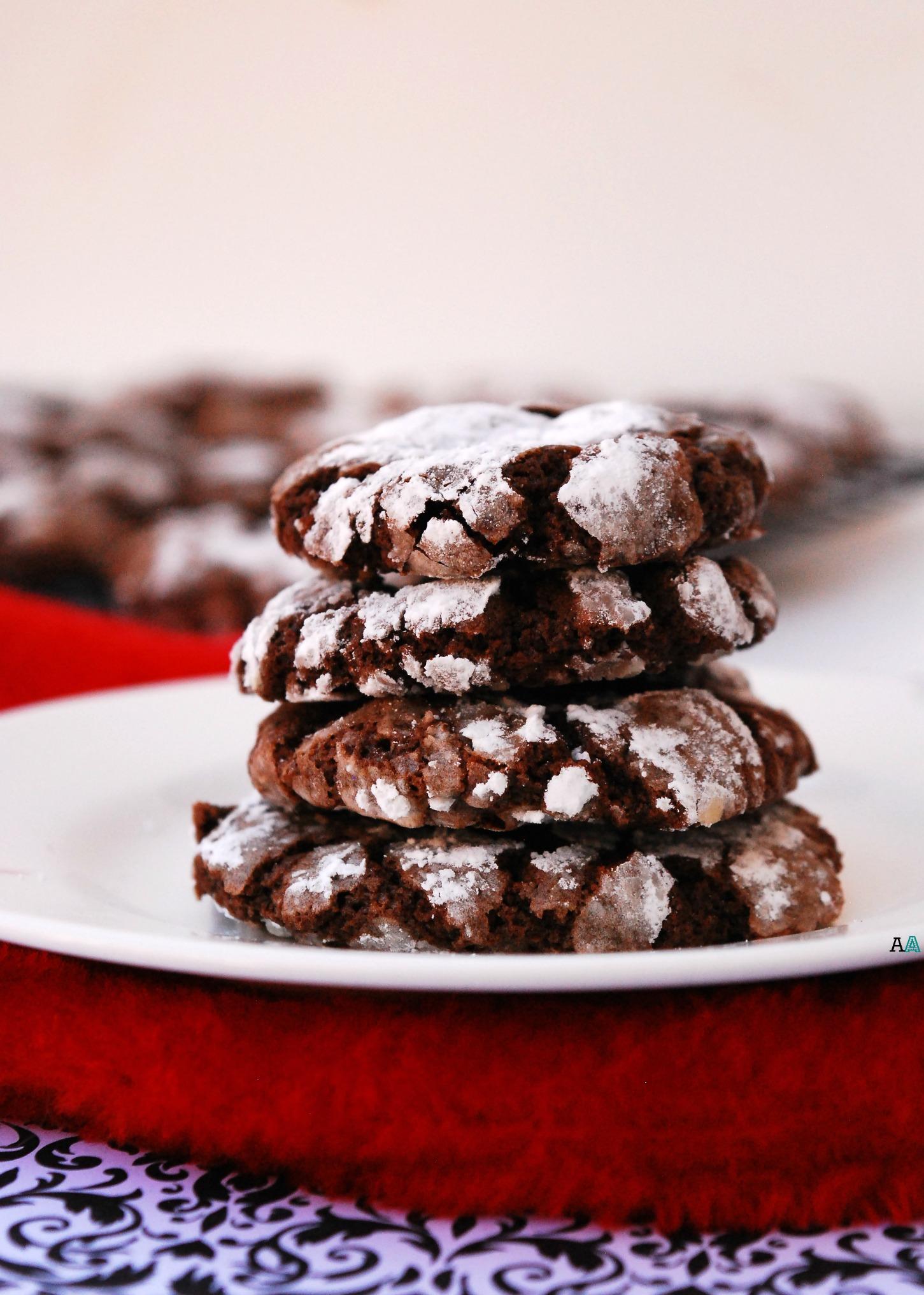 Christmas Chocolate Peppermint Crinkle Cookies Gf Vegan