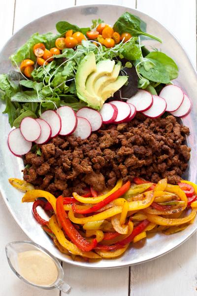 gluten-free, low-sodium, paleo, grain-free, ground beef, avocado, radish, bell peppers (capsicum), greens