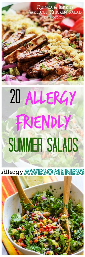 20 Allergy Friendly Summer Salads Round-up by Allergy Awesomeness