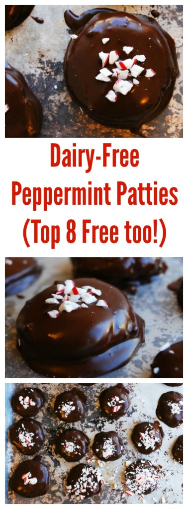 Dairy-free Homemade Peppermint Patties (Gluten, dairy, egg, soy, peanut & tree nut free; top 8 free and vegan) Holiday dessert recipe by AllergyAwesomeness.com