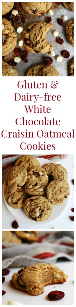 Gluten-free & Vegan White Chocolate Craisin Oatmeal Cookies Dessert Recipe by AllergyAwesomeness (Top 8 free too!)
