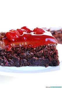 Gluten-free Vegan Cherry Chocolate Cake. Dessert recipe by AllergyAwesomeness.com