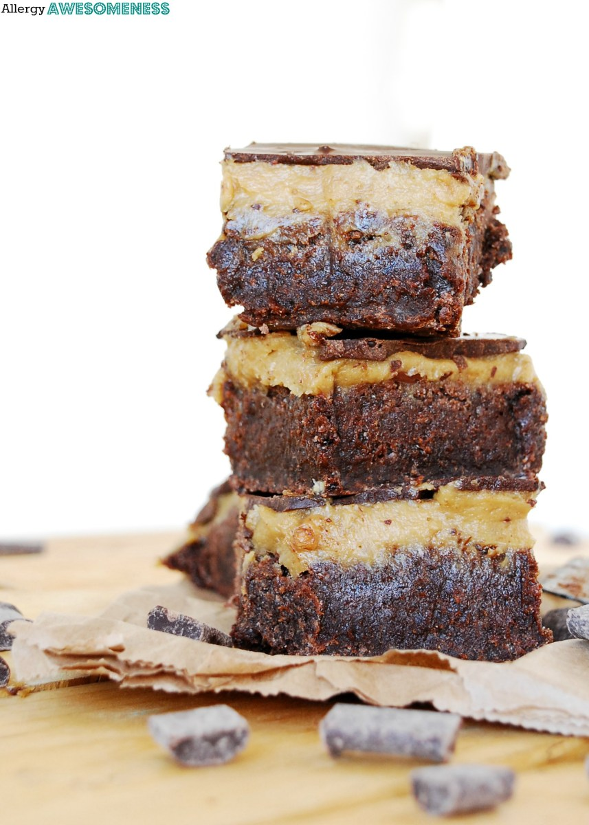 Triple Layer SunButter Brownies (Gluten-free, Vegan)