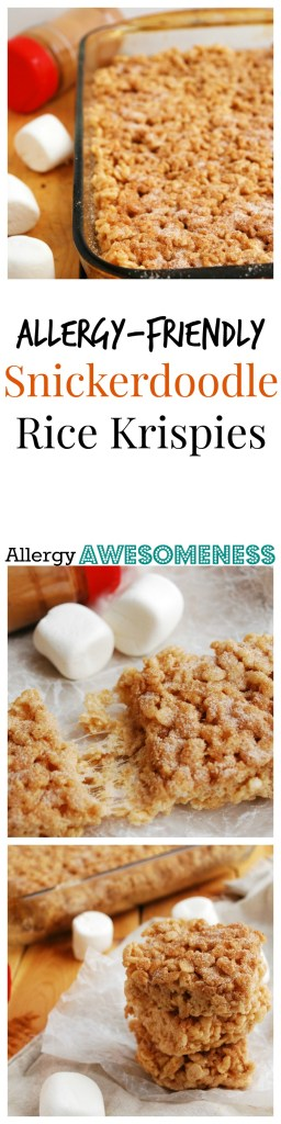 Allergy-friendly Snickerdoodle Rice Krispie Treats Dessert Recipe by Allergy Awesomeness