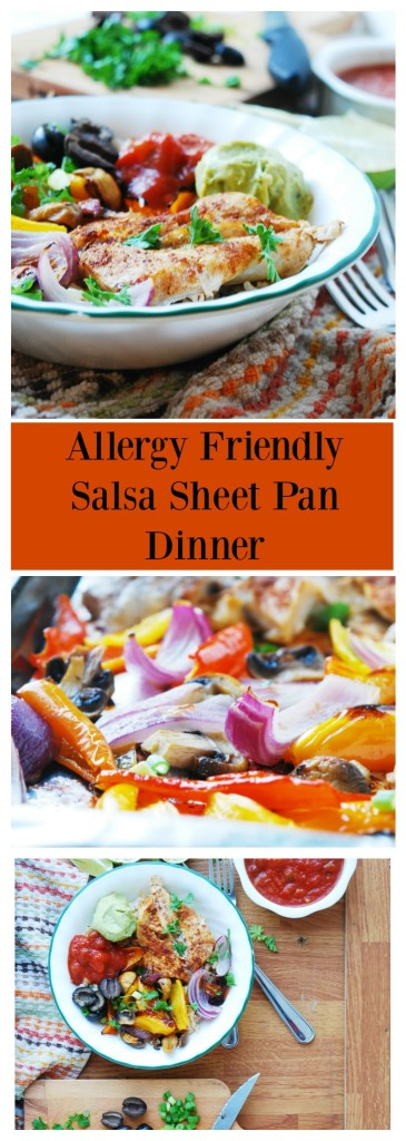 Allergy-friendly 30 Minute Salsa Chicken Sheet Pan Dinner (Gluten, dairy, egg, soy, peanut & tree nut free; top-8-free; vegan) Recipe by AllergyAwesomeness.com