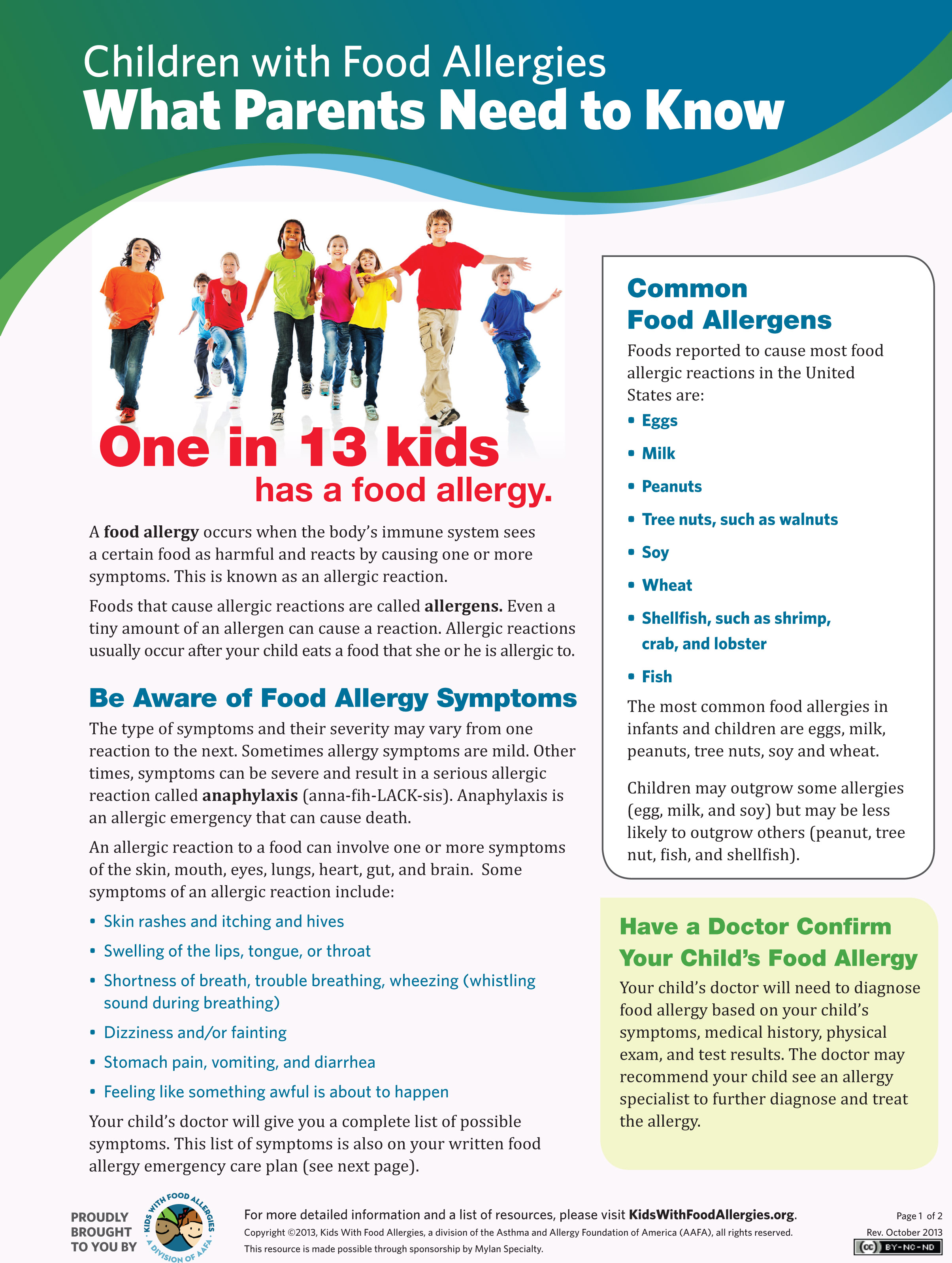 Educational Food Allergies Handout Now Available For Free