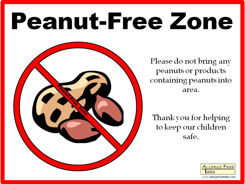 Peanut-free zone sign - Large