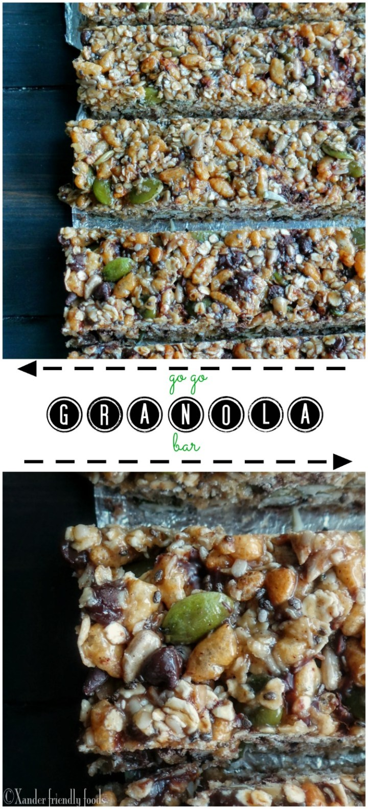 Homemade granola bar, loaded with only good stuff. Top 8 free!