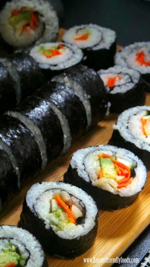 Veggie Sushi Rolls made from fresh ingredients, allergy-friendly & vegan