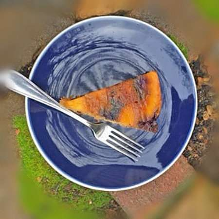 vegan peach and blueberry upsidedown cake