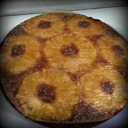 Vegan Pineapple Upside Down Cake out of oven