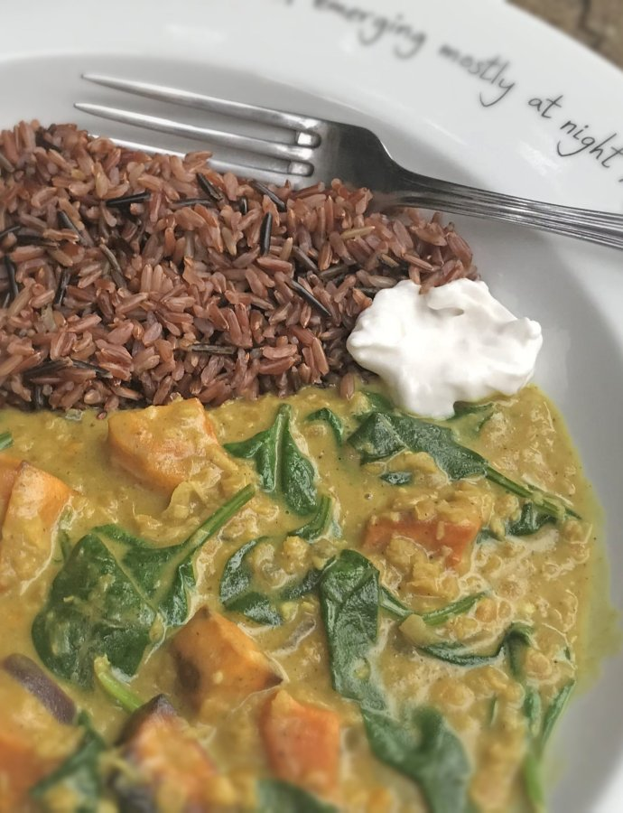 Vegan Roasted Sweet Potato and Spinach Curry