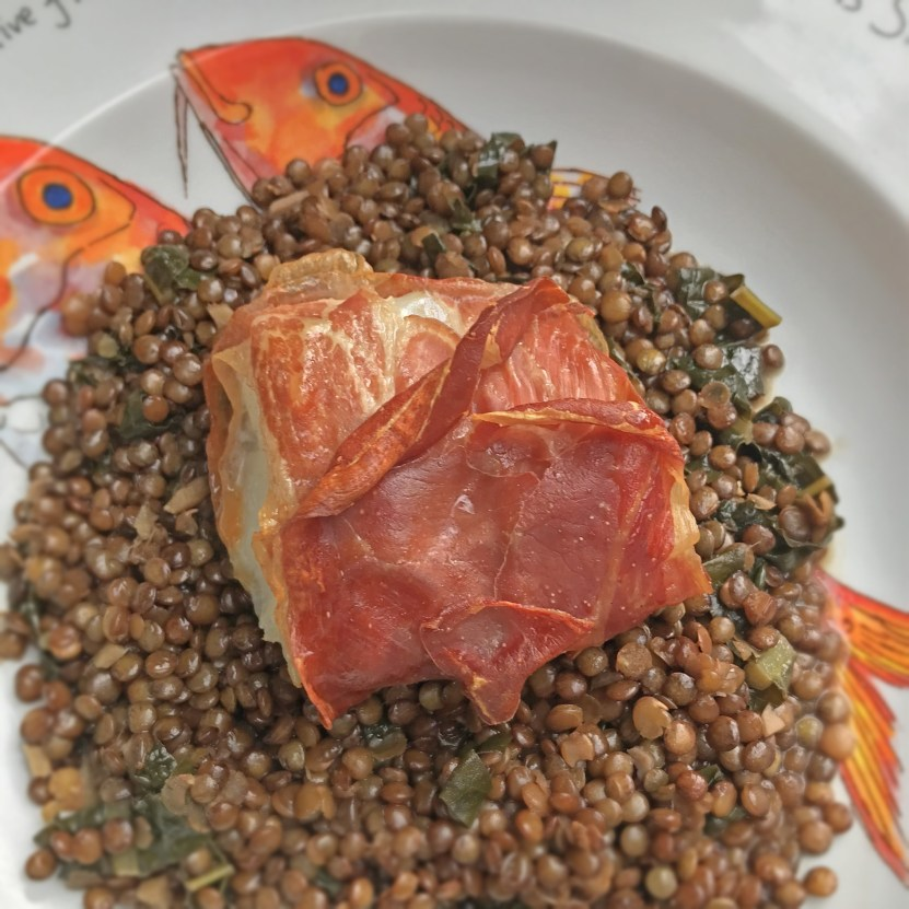 Baked Cod with Spiced Lentils