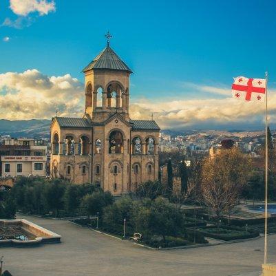 Vor der Sameba-Kathedrale, Tiflis