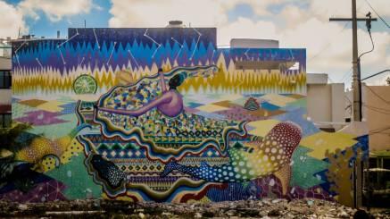 Eine Wandzeichnung auf Isla Mujeres