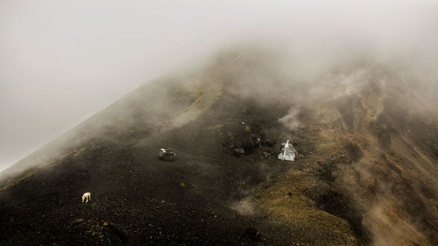 Auf dem Krater vom Paricutin.