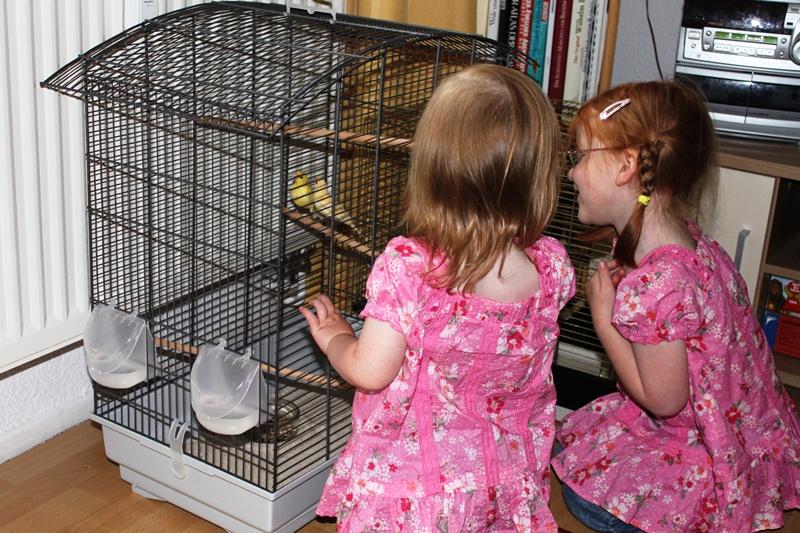 Karolina und Kira mit den neuen Vögeln