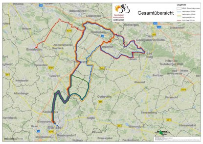 Münsterland-Giro Gesamtübersicht der Strecke. (Grafik: Stadt Münster)