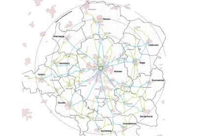 So werden die Velorouten (Blau) zukünftig das Umland mit Münsters Promenade verbinden. (Grafik: Stadt Münster)