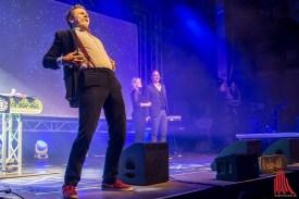"André Gatzke mit Lisa Feller und Oliver Pauli vom Improvisationstheater ""Placebo"" (Foto: th)"